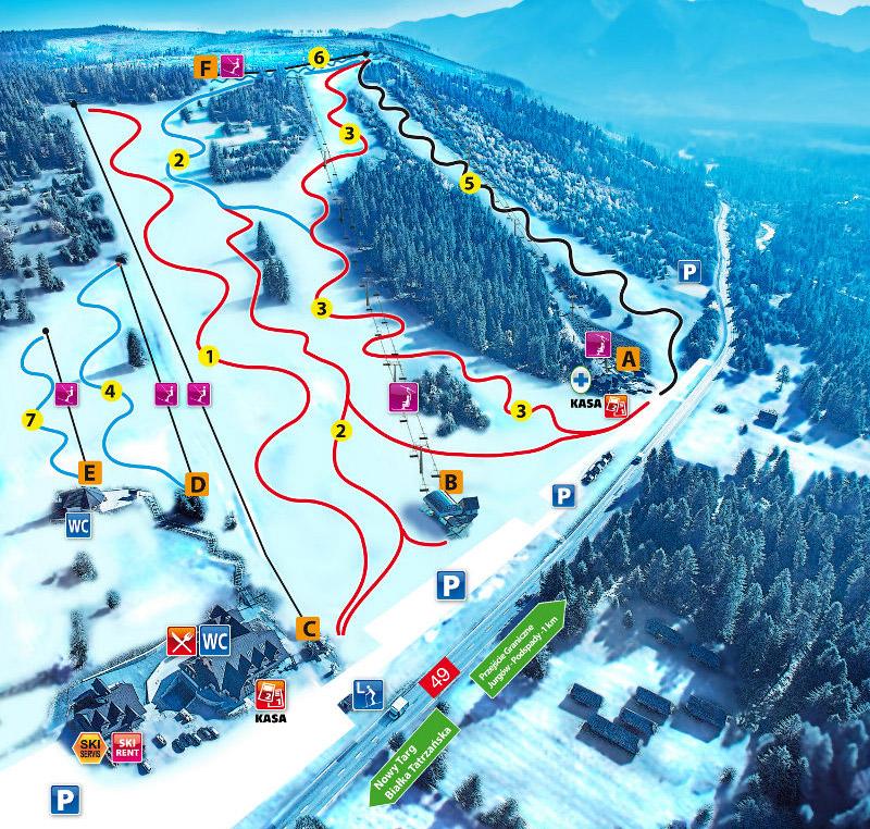 Bukowina  wyciągi narciarskie Jurgów
