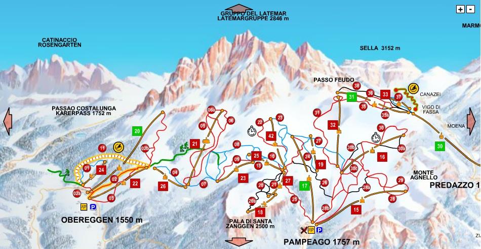 Mapa tras narciarskich Val di Fiemme